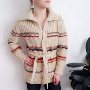 70s Vintage Chunky Knit Rainbow Striped Cardigan